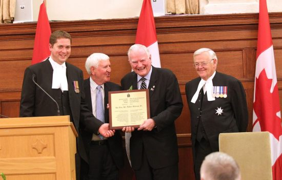 The Hon. Andrew Scheer, Speaker of the House of Commons, CAFP President Léo Duguay,  2012 Distinguished Service Award recipient Walter McLean and the Hon. Noël A. Kinsella, Speaker of the Senate.